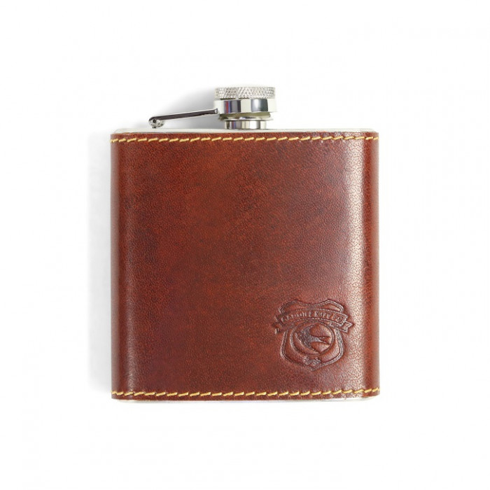 20 BROWN LEATHER HIP FLASK