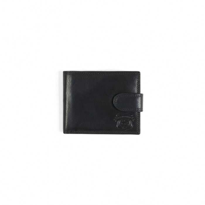 BLACK LEATHER WALLET WITH ZIP